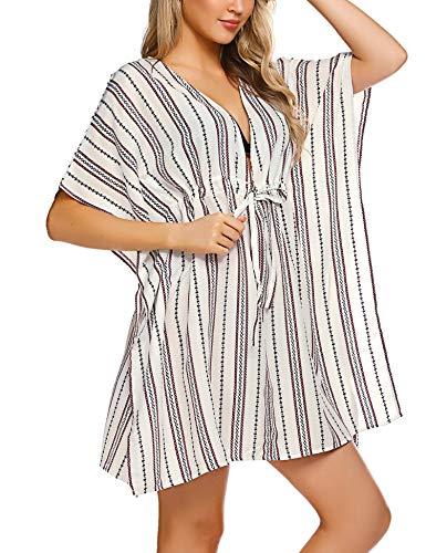 (ADOME Women Sexy Tunic Bikini Cover up Oversized Striped Swim Coverup)