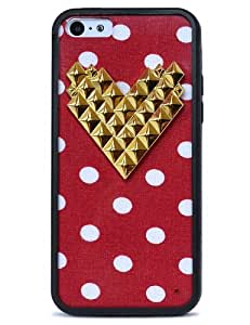 Wildflower Cases Trendy Cute Red Polka Dot Gold Heart Studded Case for iPhone 5C