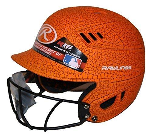 Rawlings Velo Junior R16 Series Crackle Batting Helmet with Face Mask (Neon Orange, Junior)