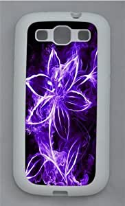 Abstract Purple Flowers With Light Silicone Case Cover for Samsung Galaxy S3 SIII I9300 White