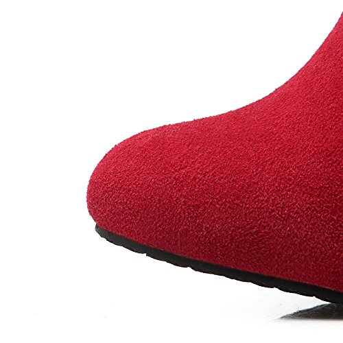 Fur Buckle Heels 1TO9 Girls Boots Frosted Ornament Chunky Red wtgt1qT