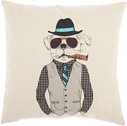 (Nourison Mina Victory RN010 Trendy, Hip, New Age Cigar Dog Throw Pillow, 18