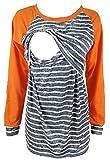 Chulianyouhuo Maternity Breastfeeding T-Shirt Long-Sleeved Stripes Patchwork Nursing and Breastfeeding Tops (Orange, M)