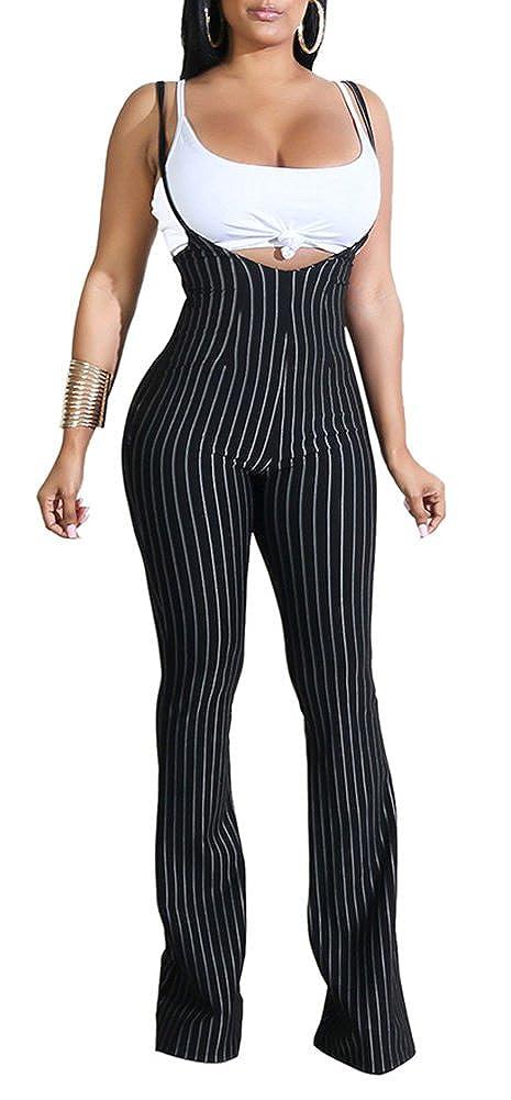 e833484a6fa9 Amazon.com: Rela Bota Women's Spaghetti Strap Stripe Bodycon Overalls  Jumpsuits with Vest: Clothing