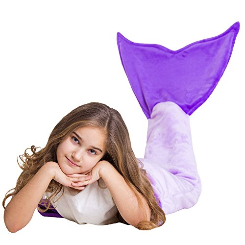 [Loved Blanket Fleece Mermaid Tail Blanket for Kids Girls Teens - Excellent Idea for a Gift (Purple)] (Unique Costume Ideas For Teenage Girls)