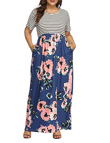 Allegrace Sleeve Floral Maxi Short Striped Print Women's Size Long Dress Blue Plus Patchwork Dresses pwqSrp