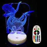 LED Dinosaur Night Light Lamp,Rechargeable Dimmable Night Light with Luminous White Base for Kids/Adults,Colors Changing by Touch Or Remote Control(No Battery in The Remote) (Pterosaur)