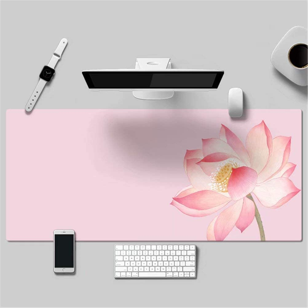 16) LL-COEUR Elegant Flower Simple Leather Mouse Pad Gaming Keyboard Mat Waterproof Table Mat Thickness 2mm (900 x 450 x 2 mm