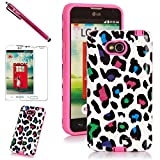 lg l70 phone accessories - LG L70 Case, LG Optimus L70 Case, Style4U Colorful Leopard Design Slim Fit Hybrid Armor Case for LG Optimus L70 with 1 Stylus and 1 HD Clear Screen Protector [Leopard Hot Pink]