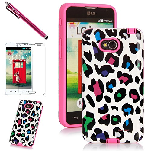 LG L70 Case, LG Optimus L70 Case, Style4U Colorful Leopard Design Slim Fit Hybrid Armor Case for LG Optimus L70 with 1 Stylus and 1 HD Clear Screen Protector [Leopard Hot Pink] (Lg L70 Optimus Phone Case)