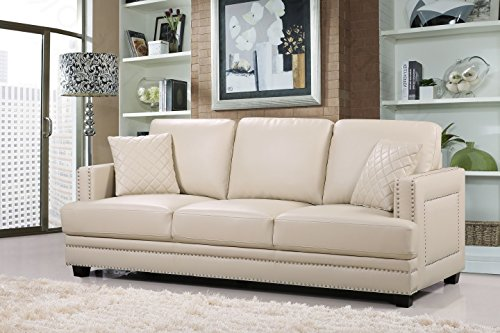 Meridian Furniture Ferrara Leather Nailhead Sofa, Beige