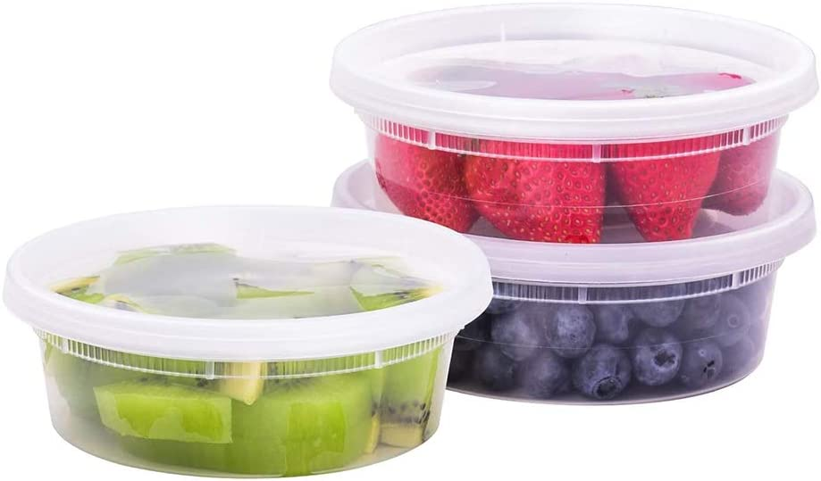 TashiBox [8 oz, 50 Sets] Plastic food storage containers with lids airtight, BPA Free, Microwave/Dishwasher/Freezer Safe