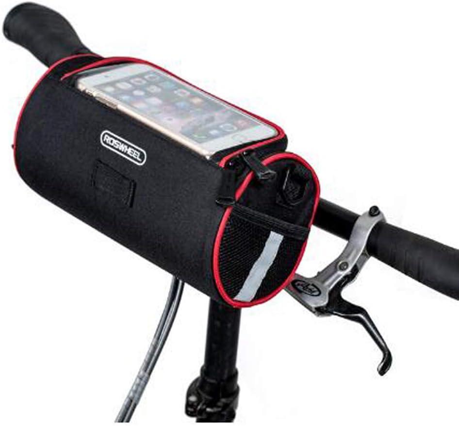 XPhonew Cesta para manillar de bicicleta bolsa de PVC transparente y rayas reflectantes de color gris plateado para bolsa delantera con funci/ón de pantalla t/áctil 3,5 L bolsa para bicicleta