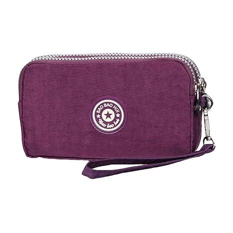 Bolso del embrague, monedero de la cartera de la tela de las señoras de la capacidad grande del bolso del teléfono móvil del nilón de moda del estilo ...