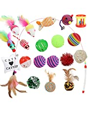 Funpet Katzenspielzeug Set 20 Stück Katzen Spielzeug Inklusive Katzenangel, Interaktiv Ball Maus Katze Toys Variety Pack mit Federn