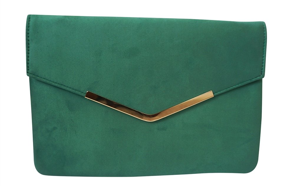 Chicastic Suede Envelope Clutch Purse - Green