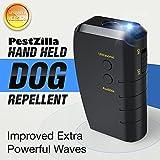Image of PestZilla Handheld Dog Repellent and Trainer + LED Flashlight / Pocketsize Ultrasonic Dog Deterrent and Bark Stopper + Dog Trainer Device [UPGRADED VERSION]