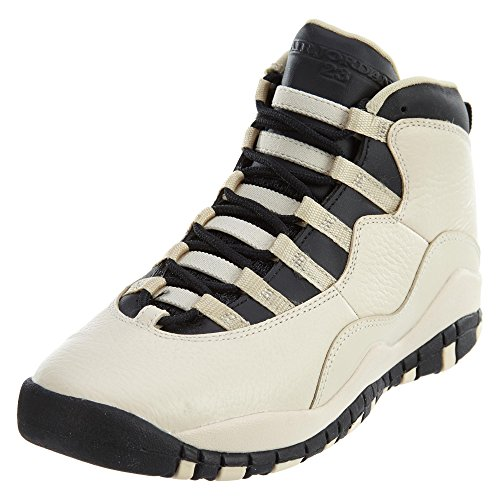 Jordan Nike Kids' 10 Retro Beige and Black Leather Basketball Shoes 5.5 ()