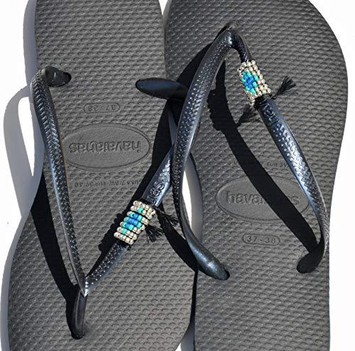 Women's Havaianas Flip Flops, Hippie Boho Turquoise & Silver Beaded Black Sandals, Sizes 9-10 US, Vegan Handmade Shoes