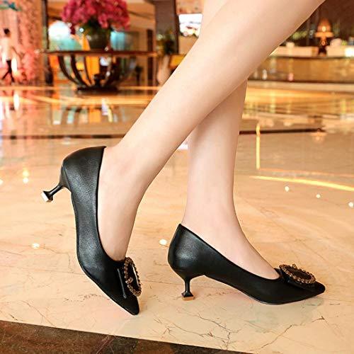 Profonds Haut Pointus Parti Peu Hauts Chaussures Talons Noir Simples Emplois Cheville Femmes amp;h needra S 8aqY1Y