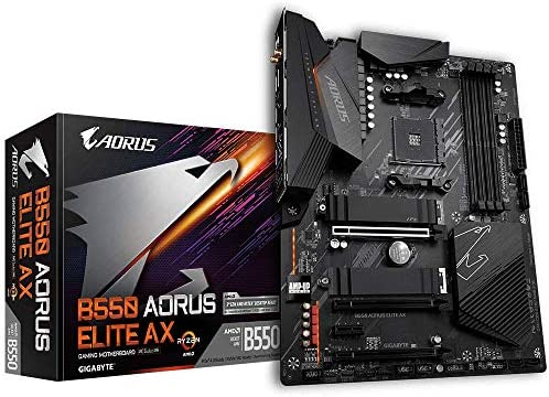 Gigabyte B550 AORUS Elite AX (AMD Ryzen 3000/B550/ATX/True 12+2 Phases Digital VRM/PCIe4.0/DDR4/USB3.2 Gen 1/Realtek ALC1200/Intel WiFi 6/2xM.2 Thermal Guard/2.5 GbE LAN/HDMI/DP/Gaming Motherboard)