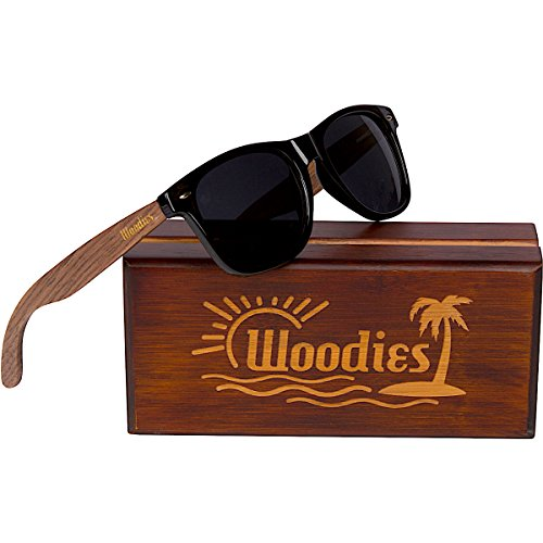 WOODIES Walnut Wood Sunglasses with Polarized Lens in Wood Display Box for Men or Women
