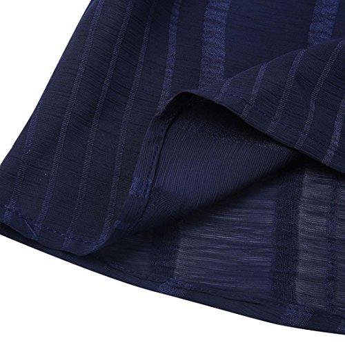 Mousseline amp;Automne Femmes Noir SANFASHION en Tops Chic Grande Size de Pliss Hiver Shirt Plus Taille de Manche Cou O Unie Volante Rouge Bleu T Haut Bleu Soie Blouse lgant FSF65qw