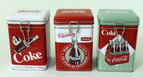Classic Coca Cola Square Metal Canisters
