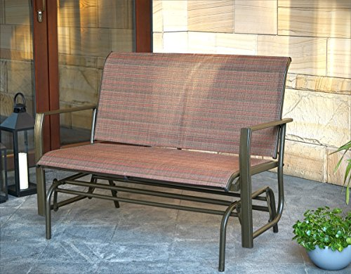 Kozyard Cozy Two Rocking Love Seats Glider Swing Bench Rocker for Patio, Yard with Textilence Seats and Sturdy Frame Tan