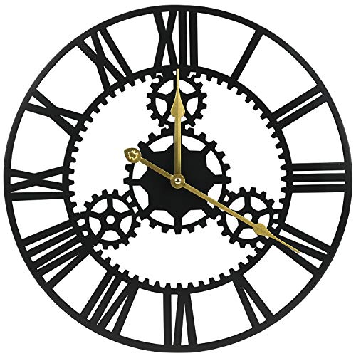 ShuaXin Large Home and Office Decorative Black Iron Wall Clock,16 Inch Antique Industrial Style 3D Hollow Gear Big Roman Numerals Art Metal Wall Clock (Working Gear Wall Clock)