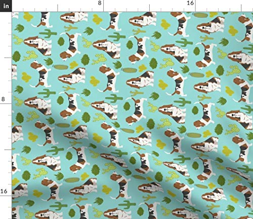 Spoonflower Basset Hound Fabric - Cactus Desert Dog Dogs Basset Hounds Dog Fabric Print on Fabric by The Yard - Fleece for Sewing Blankets Loungewear and No-Sew - Fleece Hound Basset