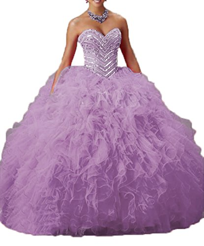 Sweet Lilac Women Sweetheart DKBridal 16 Gown Party Sequins s Quinceanera Gown Organza Ball 8gwwx7Tqd