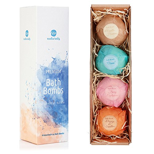 Price comparison product image Mio Naturals Bath Bombs Gift Set – Handmade from Natural Ingredients – 4 Extra Fizzy 4 oz Bubble Bath Bombs – Ideal Gift Set for Her – Be it Birthday,  Anniversary or Valentines Day