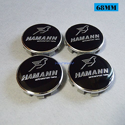 Hanway Set of 4 BMW Wheel Center hub Caps 10Pin Base for OEM Original BMW M Power HAMANN AC SCHNITZER logo emblem (HAMANN, Gray base)