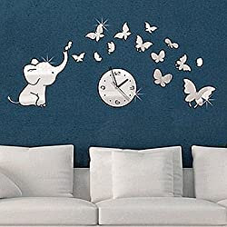 Ikevan 1Set Acrylic Art 3D Mirror Elephant Butterfly Wall Stickers Clock DIY Home Wall Room Decals Decor Sofa TV Setting Wall Removable Wall Stickers