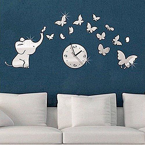 3D DIY Acrylic Mirror Round Pattern Wall Sticker Clock Home Decoration - 2
