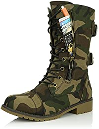 Women's Military Lace Up Buckle Combat Boots Ankle Mid Calf Fold-Down Exclusive Credit Card Pocket Black Lime Black PU 6.5 2A(N) US