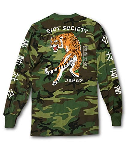 Riot Society Japanese Tiger Camo Mens Long Sleeve T-Shirt - M