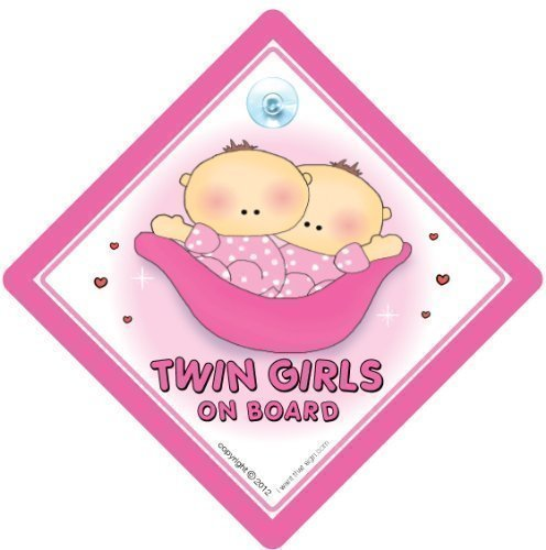 BABY iwantthatsign.com Twins On Board Car Sign, Twin Girls On Board Sign, Pink Peapod, Twins On Board Car Sign, Decal, Bumper Sticker, Twins (Peapod Babies Twin)