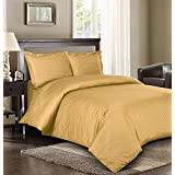 Singh's Textiles 3pc Duvet Cover Set-ON SALE TODAY-600 Thread Count Ultra Soft Top Quality , 100% Egyptian Cotton Queen Bed, Gold Stripe