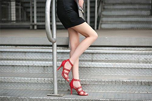 europeas B Sandalias de con americanas huecos Zapatos de tacón mujer Zapatos alto mujer remaches de verano SHINIK de Zapatos y xHawKZ