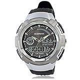 Men's multi-function sports digital watch, Outdoor climb led 100 m waterproof swim resin dual time dual display stopwatch fashion wristwatch-D