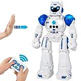 MIBOTE Remote Control Robot Toys for Kids, Smart Gesture Control & RC Remote Control Rechargeable Programmable Robot for Boys Girls Toddler, Walking, Singing, Dancing, Blue