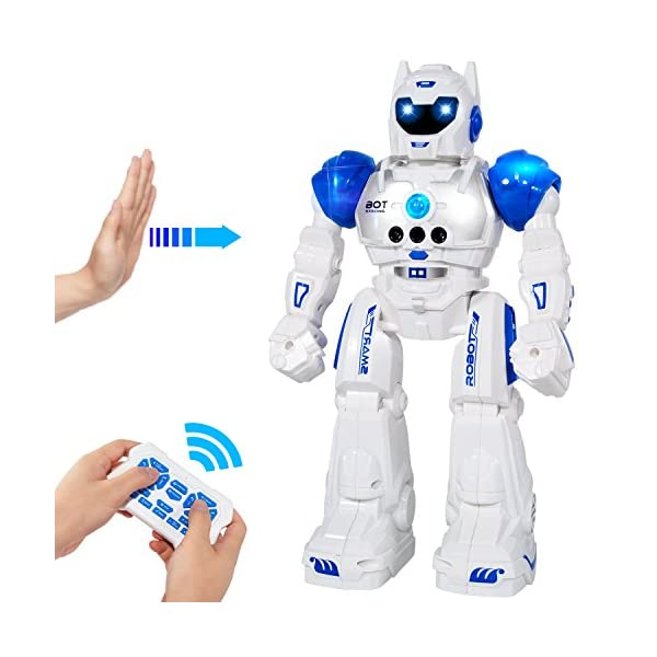 51m2BqndXoL. SS600  - MIBOTE Remote Control Robot Toys for Kids, Smart Gesture Control & RC Remote Control Rechargeable Programmable Robot for…