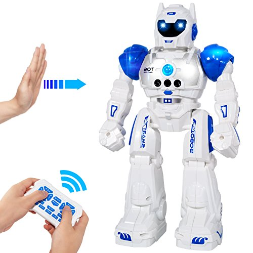 MIBOTE Remote Control Robot Toys for Kids, Smart Gesture Control & RC Remote Control Rechargeable Programmable Robot for Boys Girls Toddler, Walking, Singing, Dancing, Blue]()