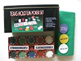 Texas Hold'Em Poker Set : 200 Chips W Rack, Gaming Mat, 1 Big Blind, 1 Small Blind, 1 Dealer Button