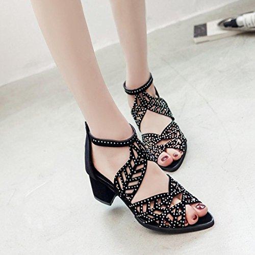 y de Zapatos Chanclas de Sandalias De Altos Las ASHOP Playa Cordones Moda Bailarinas Negro Zapatillas Elegante Planas Cuero Y Cómodo Bohemia Verano Mujer Tacones Sandalias p0WUTUfnx