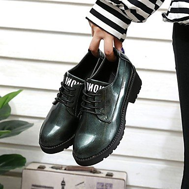 Heel Wine EU36 Gray Low Toe Chunky up RTRY Heel Booties Shoes Casual Boots Lace Ankle Women's Green Boots Comfort Black For US6 Fall CN36 PU Round UK4 Wx0SHqA0w