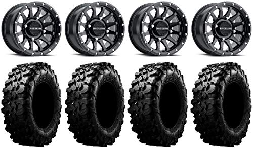 Bundle – 9 Items: Raceline Trophy 14″ Black Wheels 30″ Carnivore Tires [4×156 Bolt Pattern 12mmx1.5 Lug Kit]