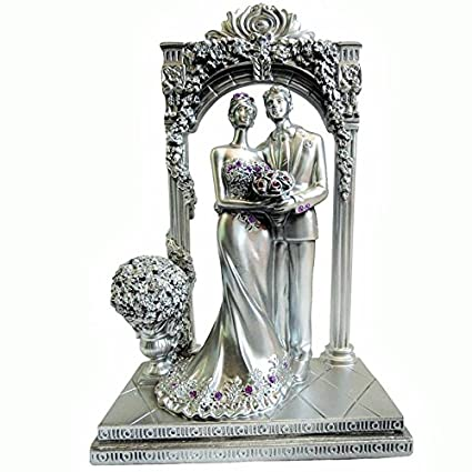 Buy Touch India Silver Romantic New Couple With Flower Stage Statue